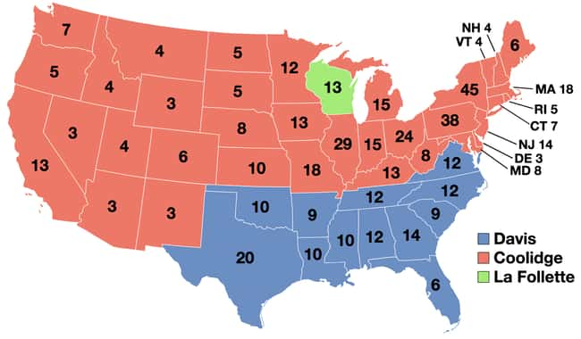 1924: Calvin Coolidge vs. John is listed (or ranked) 7 on the list These Maps Of Every Election In The Past Century Show How Dramatically America Has Changed