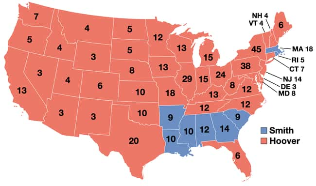 1928: Herbert Hoover vs. Al Sm is listed (or ranked) 8 on the list These Maps Of Every Election In The Past Century Show How Dramatically America Has Changed