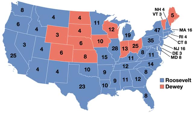 1944: Franklin D. Roosevelt vs is listed (or ranked) 12 on the list These Maps Of Every Election In The Past Century Show How Dramatically America Has Changed