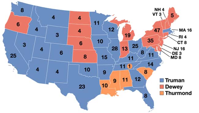 1944: Harry S. Truman vs. Thom is listed (or ranked) 13 on the list These Maps Of Every Election In The Past Century Show How Dramatically America Has Changed