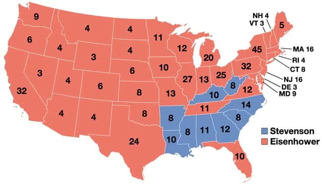 1952: Dwight D. Eisenhower vs. is listed (or ranked) 14 on the list These Maps Of Every Election In The Past Century Show How Dramatically America Has Changed
