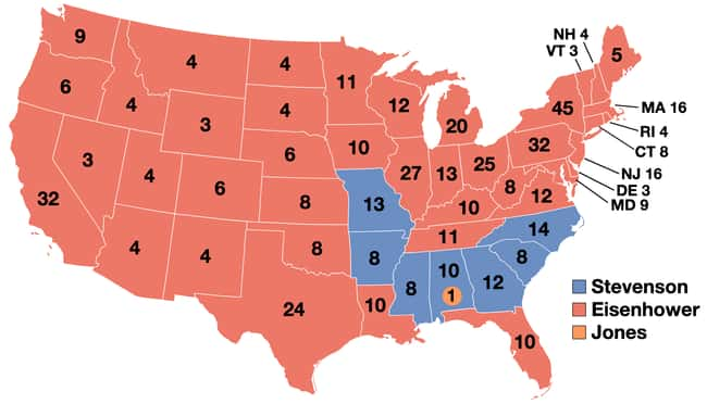1956: Dwight D. Eisenhower vs. is listed (or ranked) 15 on the list These Maps Of Every Election In The Past Century Show How Dramatically America Has Changed