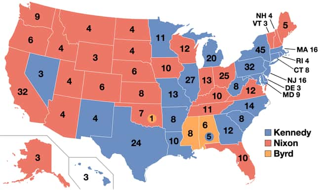 1960: John F. Kennedy vs. Rich is listed (or ranked) 16 on the list These Maps Of Every Election In The Past Century Show How Dramatically America Has Changed