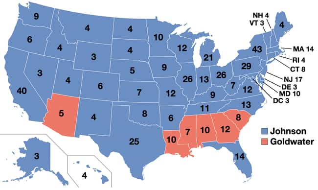 1964: Lyndon B. Johnson vs. Ba is listed (or ranked) 17 on the list These Maps Of Every Election In The Past Century Show How Dramatically America Has Changed
