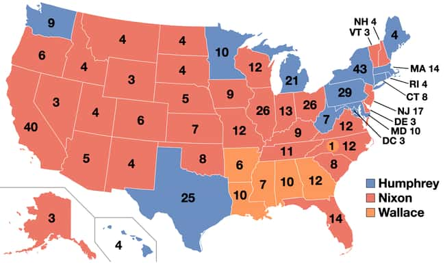 1968: Richard Nixon vs. Hubert is listed (or ranked) 18 on the list These Maps Of Every Election In The Past Century Show How Dramatically America Has Changed