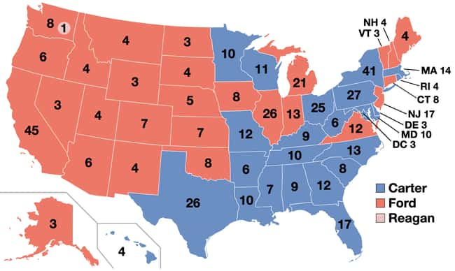 1976: Jimmy Carter vs. Gerald  is listed (or ranked) 20 on the list These Maps Of Every Election In The Past Century Show How Dramatically America Has Changed