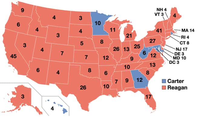 1980: Ronald Reagan vs. Jimmy  is listed (or ranked) 21 on the list These Maps Of Every Election In The Past Century Show How Dramatically America Has Changed