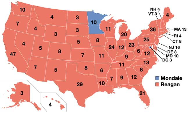 1984: Ronald Reagan vs. Walter is listed (or ranked) 22 on the list These Maps Of Every Election In The Past Century Show How Dramatically America Has Changed