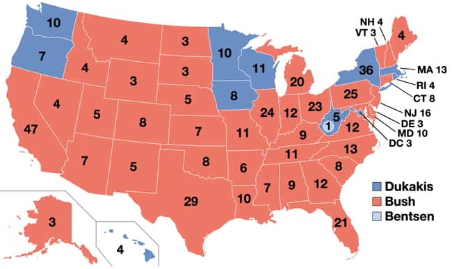 1988: George H. W. Bush vs. Mi is listed (or ranked) 23 on the list These Maps Of Every Election In The Past Century Show How Dramatically America Has Changed