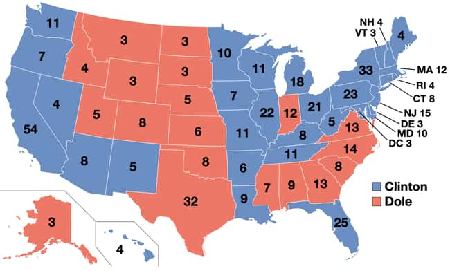 1996: Bill Clinton vs. Bob Dol is listed (or ranked) 25 on the list These Maps Of Every Election In The Past Century Show How Dramatically America Has Changed