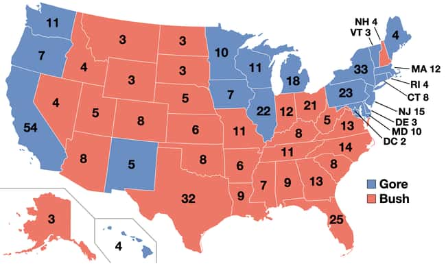2000: George W. Bush vs. Al Go is listed (or ranked) 26 on the list These Maps Of Every Election In The Past Century Show How Dramatically America Has Changed