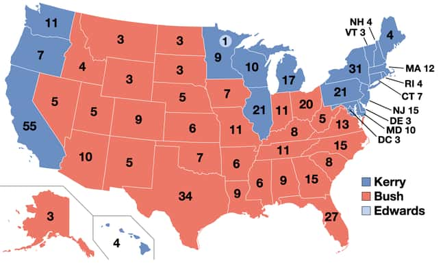 2004: George W. Bush vs. John  is listed (or ranked) 27 on the list These Maps Of Every Election In The Past Century Show How Dramatically America Has Changed