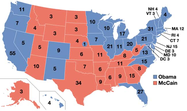 2008: Barack Obama vs. John Mc is listed (or ranked) 28 on the list These Maps Of Every Election In The Past Century Show How Dramatically America Has Changed