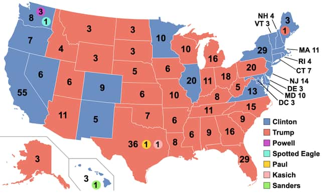 2016: Donald Trump vs. Hillary is listed (or ranked) 30 on the list These Maps Of Every Election In The Past Century Show How Dramatically America Has Changed