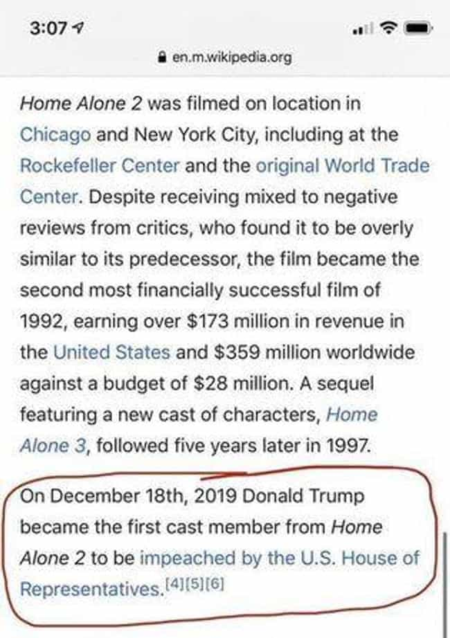 'Home Alone 2' is listed (or ranked) 2 on the list 30 Times People Made Their Own Hilarious Edits To Wikipedia