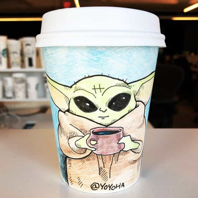 Baby Yoda And His Cute L... is listed (or ranked) 4 on the list This Artist Creates Super-Detailed Drawings On Starbucks Cups And We Are Amazed