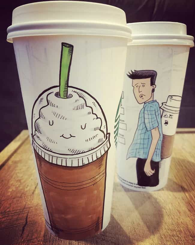 The Distracted Boyfriend... is listed (or ranked) 2 on the list This Artist Creates Super-Detailed Drawings On Starbucks Cups And We Are Amazed