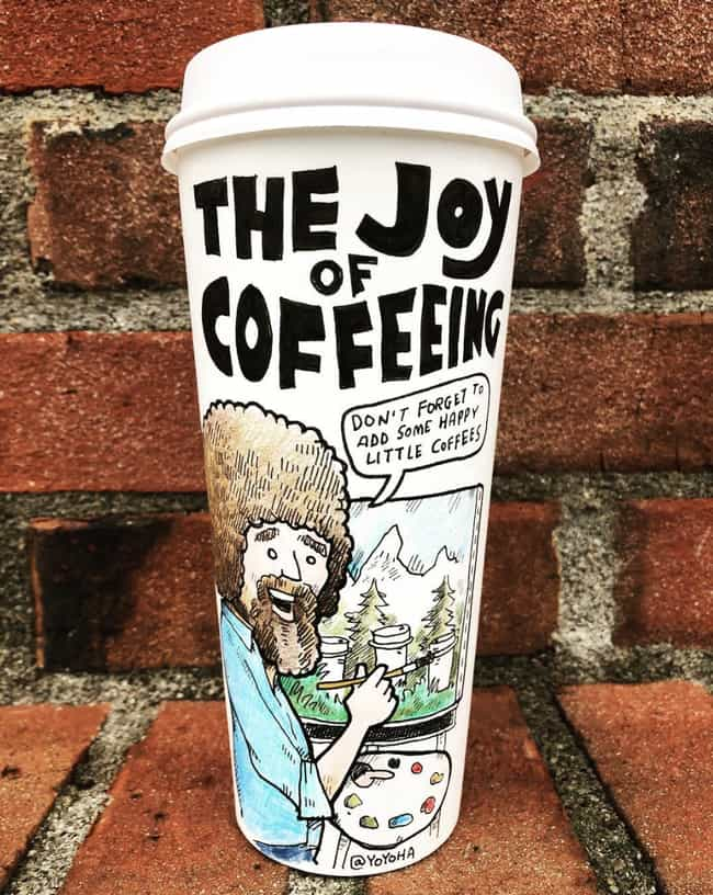 Bob Ross Painting Lil Co... is listed (or ranked) 3 on the list This Artist Creates Super-Detailed Drawings On Starbucks Cups And We Are Amazed