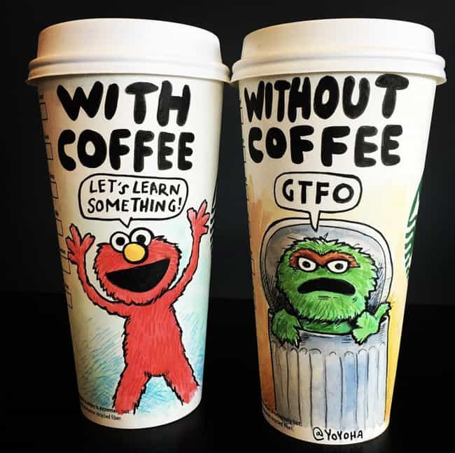 Elmo And Oscar is listed (or ranked) 1 on the list This Artist Creates Super-Detailed Drawings On Starbucks Cups And We Are Amazed