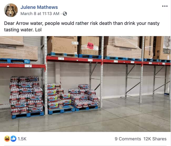 Arrowhead Water For Days is listed (or ranked) 6 on the list 26 Items Left On The Shelves That Even Panic Buyers Didn't Want