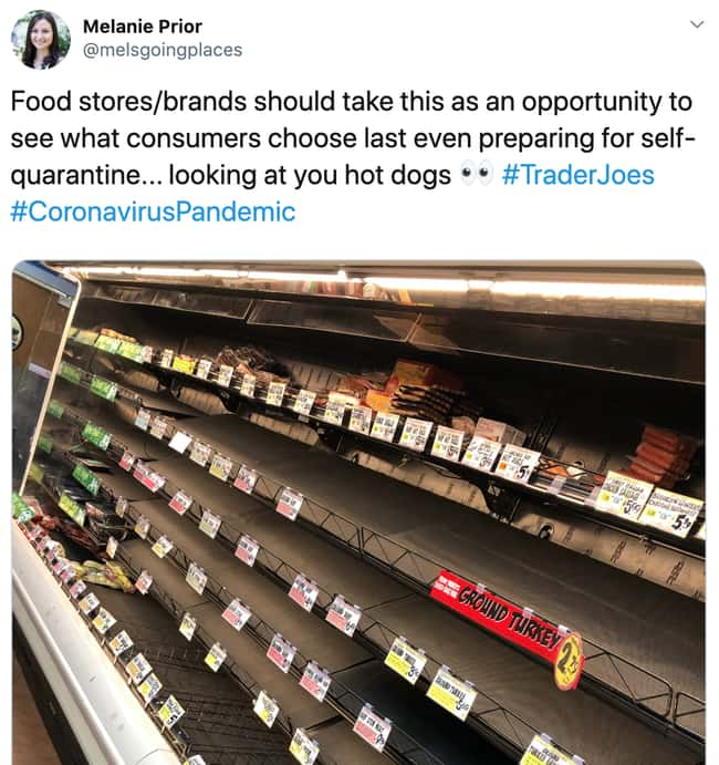 Hot Dogs Are Being Iced Out is listed (or ranked) 24 on the list 26 Items Left On The Shelves That Even Panic Buyers Didn't Want
