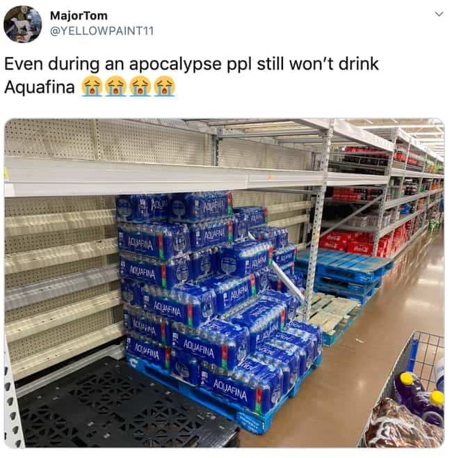 Pour Aquafina Down The Drain is listed (or ranked) 22 on the list 26 Items Left On The Shelves That Even Panic Buyers Didn't Want