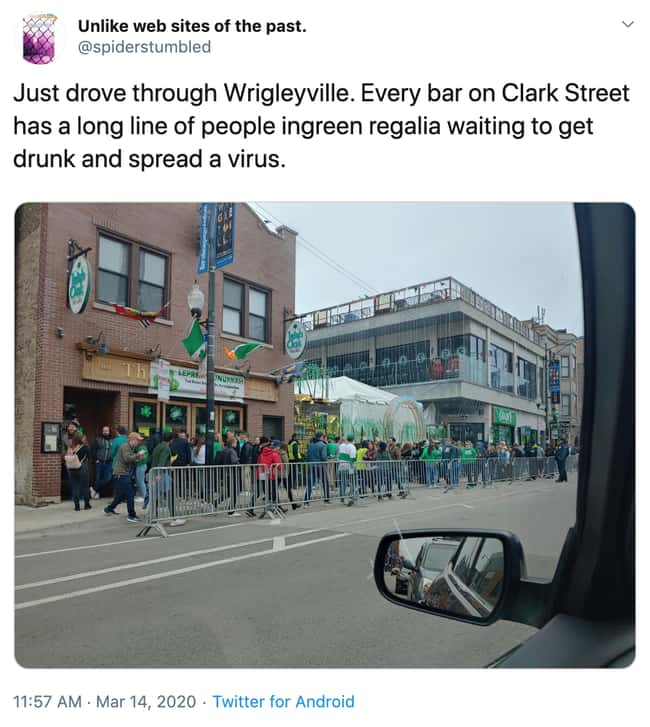 St. Paddy Would Never is listed (or ranked) 12 on the list 17 Of The Cringiest People That Aren't Taking Social Distancing Or The Pandemic Seriously