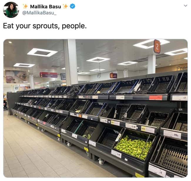 Sprouts Aren't Going Anywhere is listed (or ranked) 20 on the list 26 Items Left On The Shelves That Even Panic Buyers Didn't Want