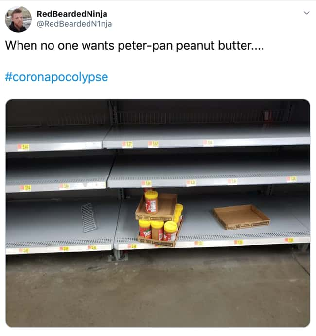 Grow Up Peter Pan Peanut Butte is listed (or ranked) 23 on the list 26 Items Left On The Shelves That Even Panic Buyers Didn't Want