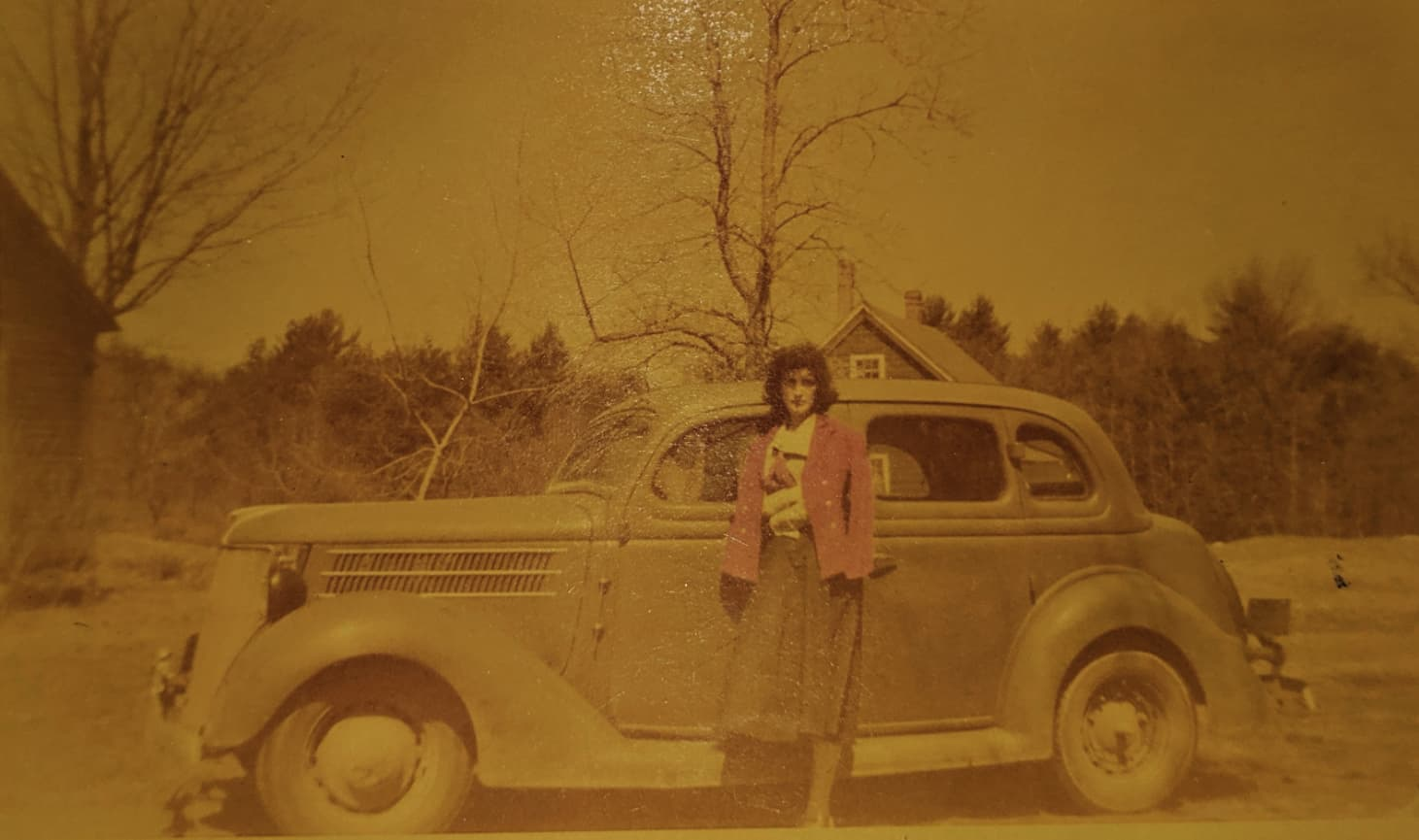 Sweater Weather on Random Vintage Color Photos Of People With Classic Cars
