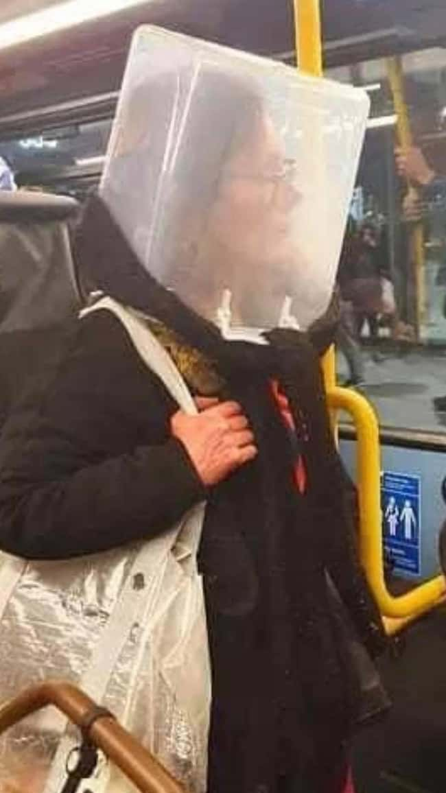How To Be Safe On Public Trans is listed (or ranked) 14 on the list 22 People Who Had 'Creative' Solutions To The PPE Shortage By Making Their Own Bootleg Masks