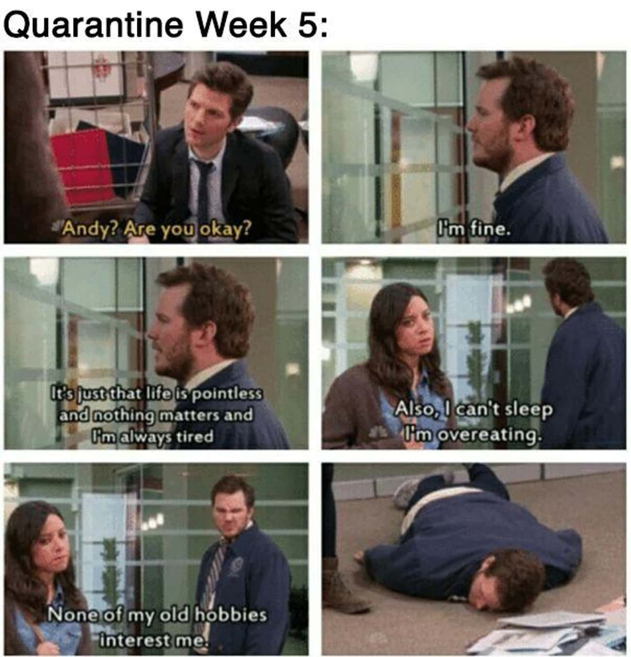 We Are All Andy is listed (or ranked) 1 on the list 33 'Parks and Recreation' Memes That Imagine Quarantine In Pawnee