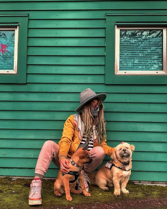 Dogs Complete The Look is listed (or ranked) 10 on the list Chic Quarantine Outfits That Make Us Love Social Distancing