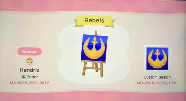 Custom Rebel Logo is listed (or ranked) 2 on the list 30 Stellar 'Star Wars' Codes & Designs For 'Animal Crossing: New Horizons'
