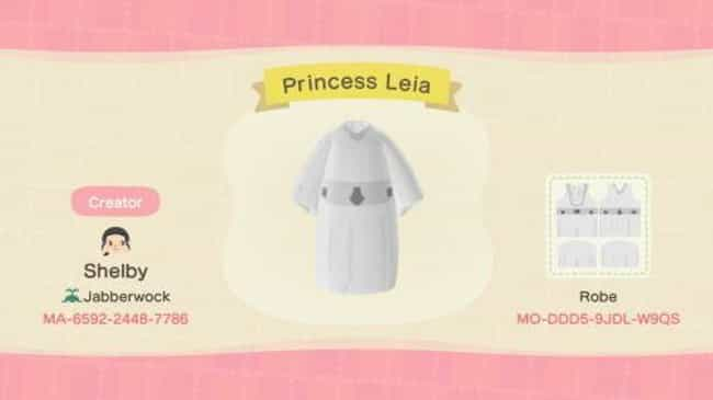 Princess Leia Dress is listed (or ranked) 4 on the list 30 Stellar 'Star Wars' Codes & Designs For 'Animal Crossing: New Horizons'