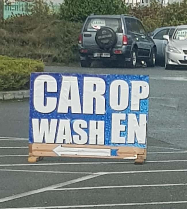 Car Op Wash En is listed (or ranked) 18 on the list 32 Hilarious Sign Fails That Made Their Messages Meaningless