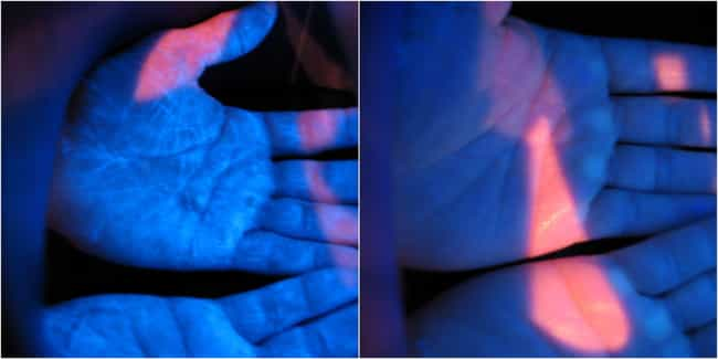 Before And After Washing... is listed (or ranked) 1 on the list 11 Unsettling Black Light Pictures Of Germs