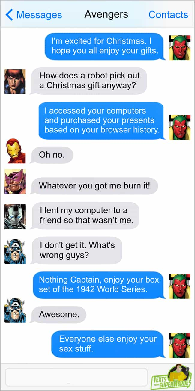 Christmas With Vision is listed (or ranked) 1 on the list The Funniest Texts From The Avengers