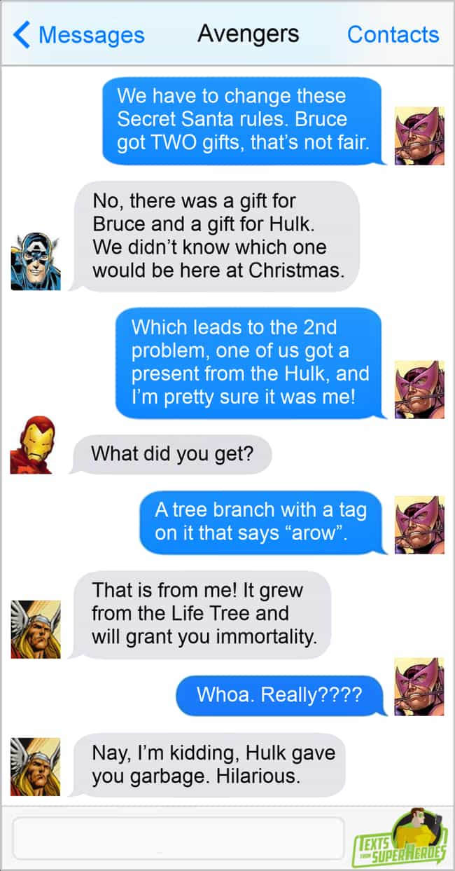 Secret Santa is listed (or ranked) 2 on the list The Funniest Texts From The Avengers