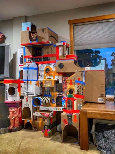 This Cat Castle is listed (or ranked) 1 on the list 27 Next Level Quarantine Projects That Could Make Anyone's Jaw Drop