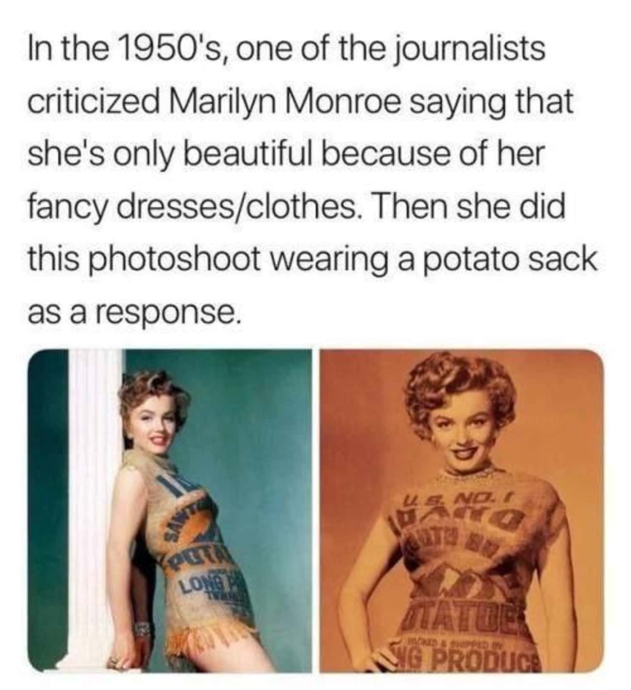 Potato Sack is listed (or ranked) 1 on the list 16 Awesome Women Who Deserve A Standing Ovation For Their Power Moves