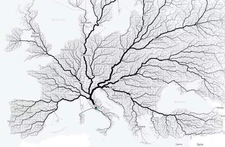 Map That Proves All Roads In Europe Lead To Rome