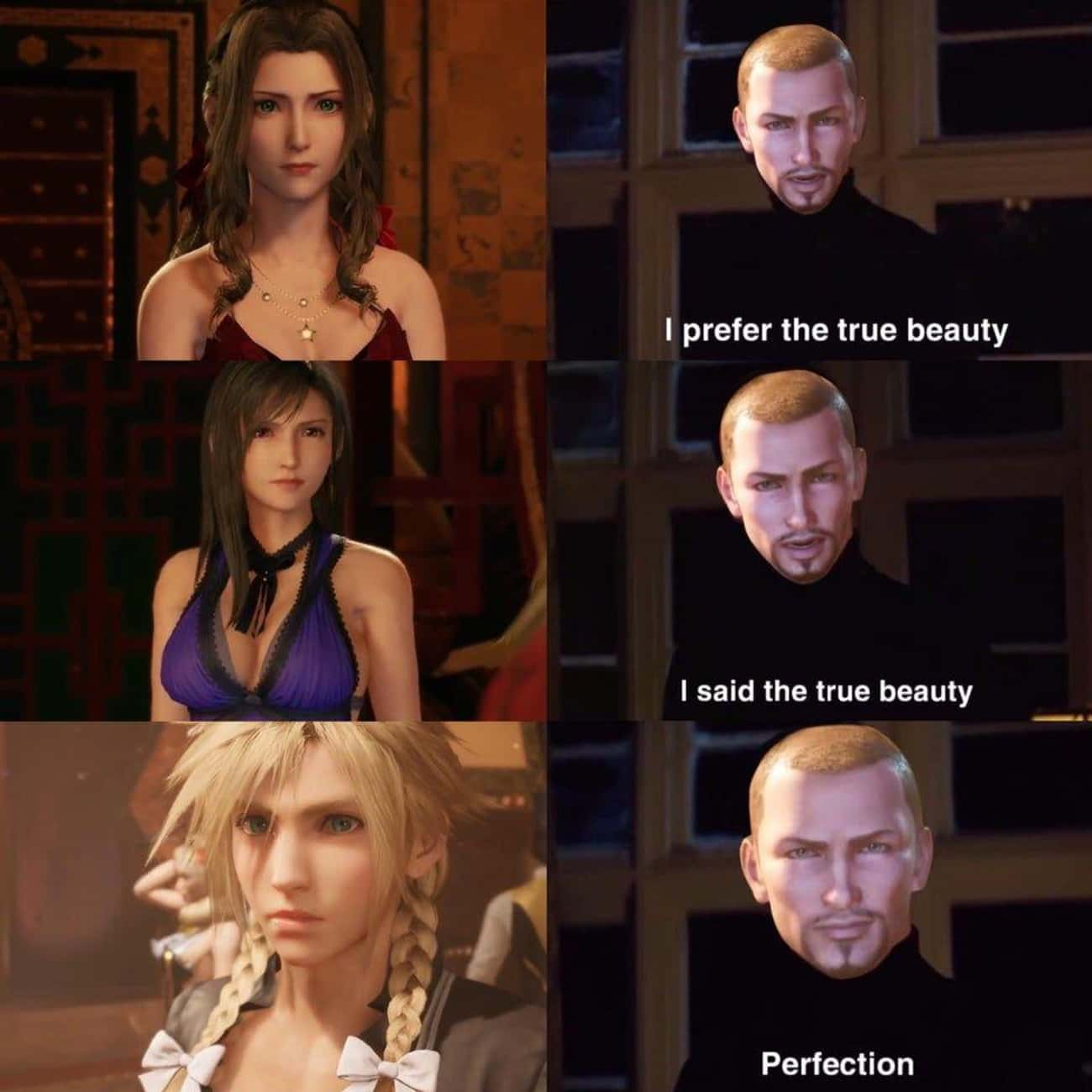 True Beauty is listed (or ranked) 2 on the list 25 'Final Fantasy VII Remake' Memes Every Fan Can Relate To