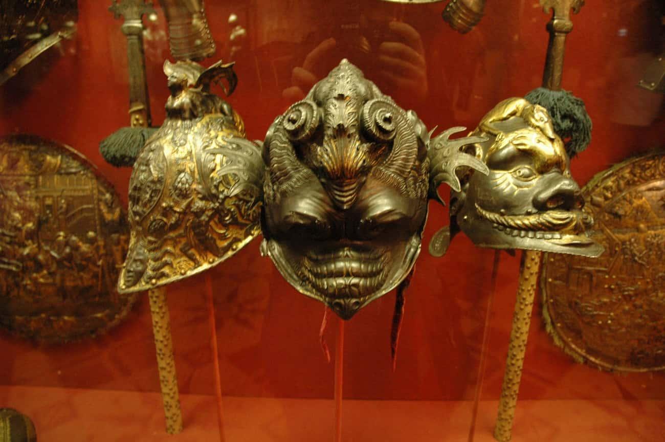 Elaborately Carved Helmets
