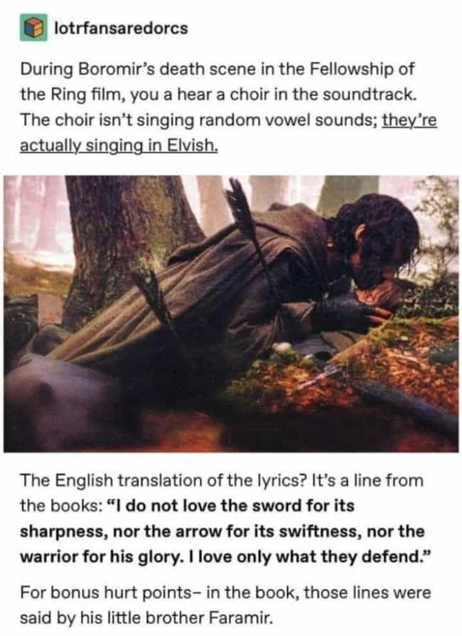 Song For Boromir is listed (or ranked) 4 on the list 21 Small But Poignant Details 'Lord of the Rings' Fans Noticed About The Trilogy