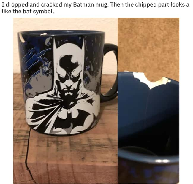 BatMug is listed (or ranked) 21 on the list 23 Should-Have-Been-Impossible Moments That Actually Happened