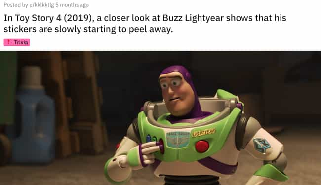 Toy Story 4 Shows Buzz L... is listed (or ranked) 1 on the list Small But Poignant Details From Pixar Movies That Fans Noticed