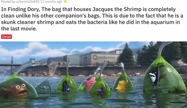 Jacques the Shrimp Keeps... is listed (or ranked) 4 on the list Small But Poignant Details From Pixar Movies That Fans Noticed