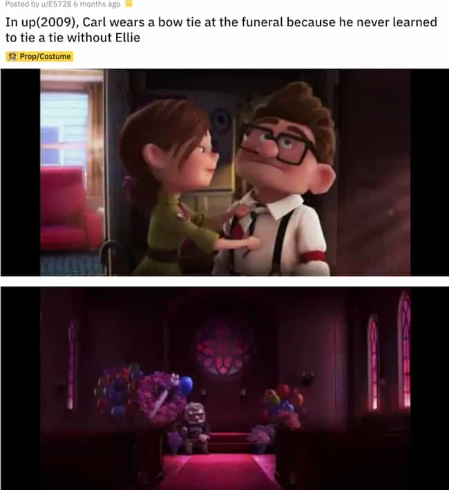 The Reason Why Carl Pref... is listed (or ranked) 3 on the list Small But Poignant Details From Pixar Movies That Fans Noticed