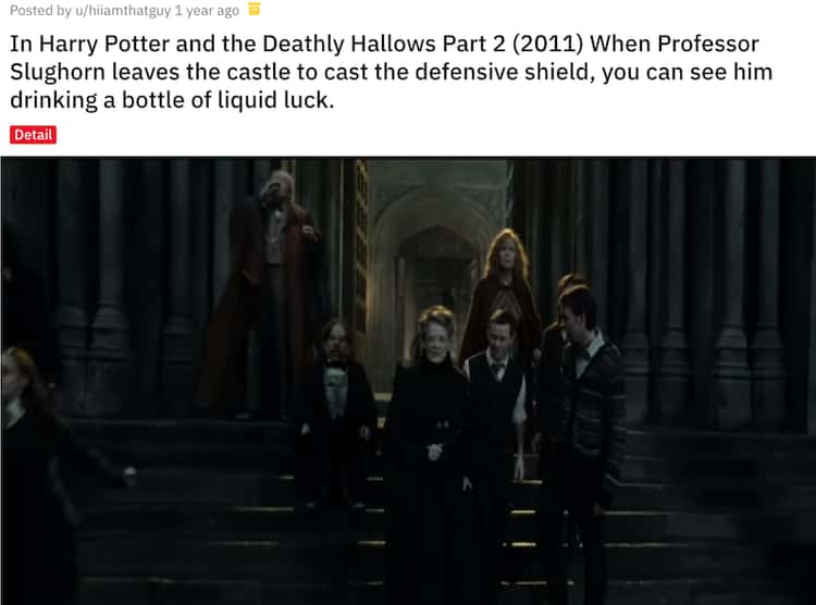 Professor Slughorn Drinks Liquid Luck Before The Battle Of Hogwarts